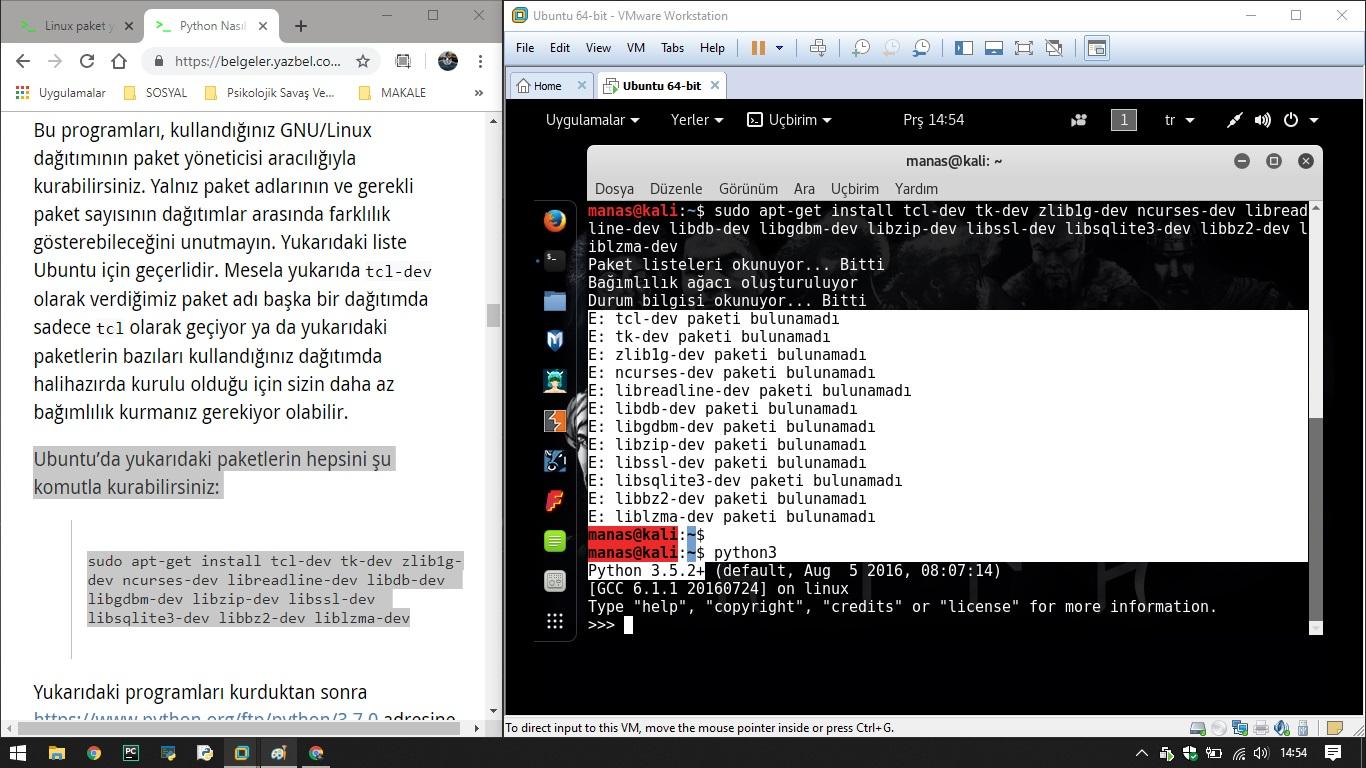 Linux paket yükleme sorunu - python - YazBel forumu
